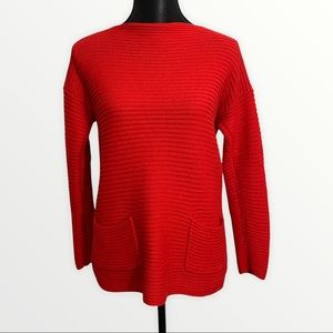 Vince Camuto Ribbed Sweater Small Orange Boat-neck